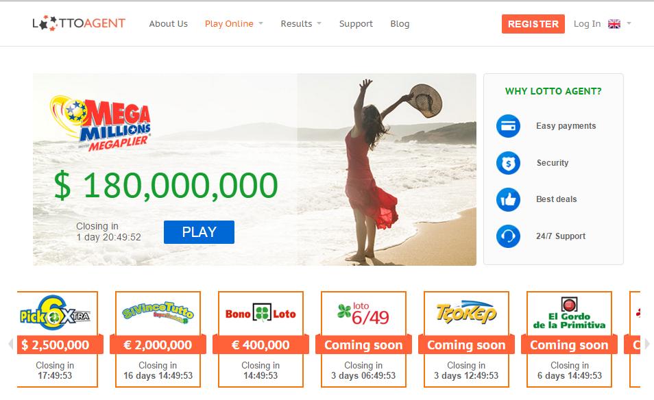 LottoAgent Website Screenshot