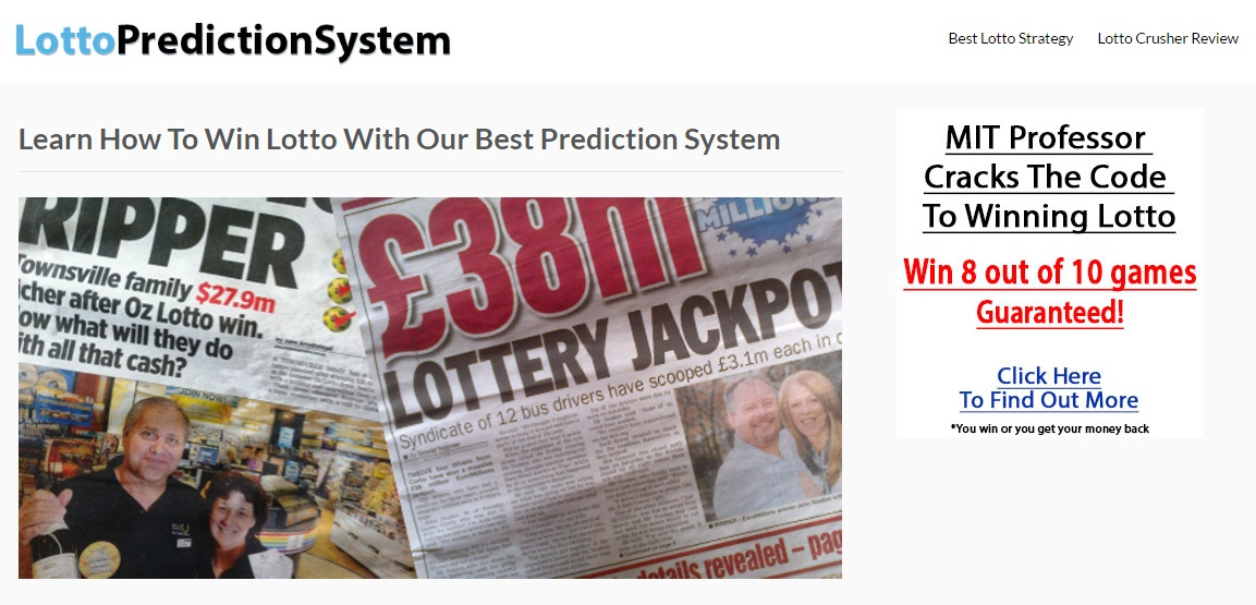 lottopredictionsystem.com Lotto Prediction System - Claims to Work With an MIT Professor - but is actually a SCAM