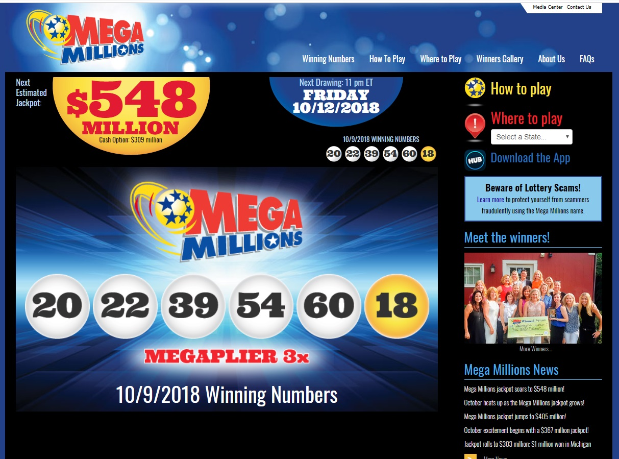 $548 million jackpot prize - Mega Millions